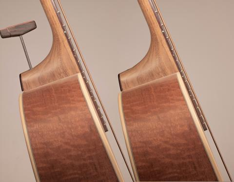 AN Adjustable cantilever guitar neck on an acoustic bass guitar changing the guitar action from high to low