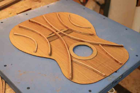 falcate guitar bracing in a bowl mould to show different bracing