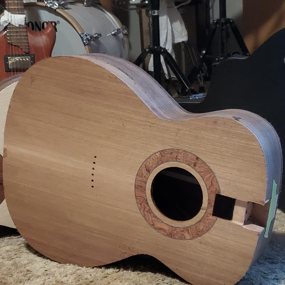 parlor and om acoustic guitar body