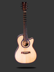 The top and front of the cutaway acoustic guitar