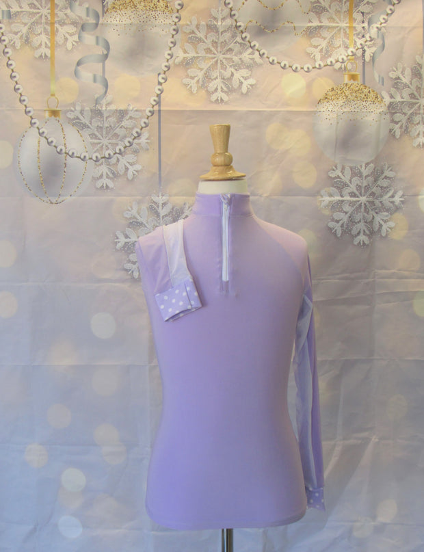 YOUTH S LAVENDER WITH WHITE POLKA DOTS