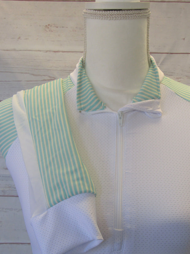 XS SHOW SHIRT WITH MINT AND CREAM STRIPED ACCENTS