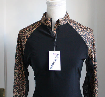 Black Sunshirt with Cheetah Shoulders and Full Sleeves