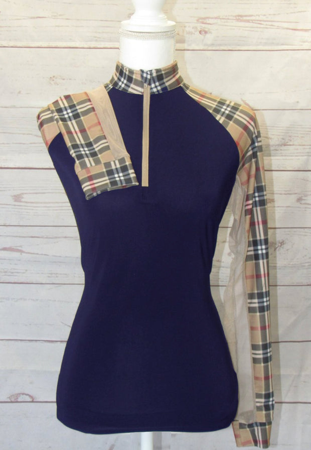 NEW! Solid Color Choice with Tan Plaid Full Sleeves