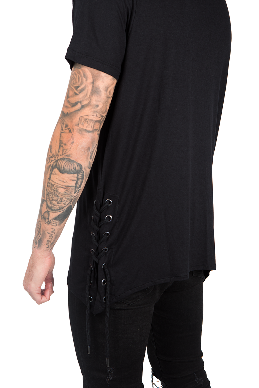SIDES OPENING T-SHIRT BLACK