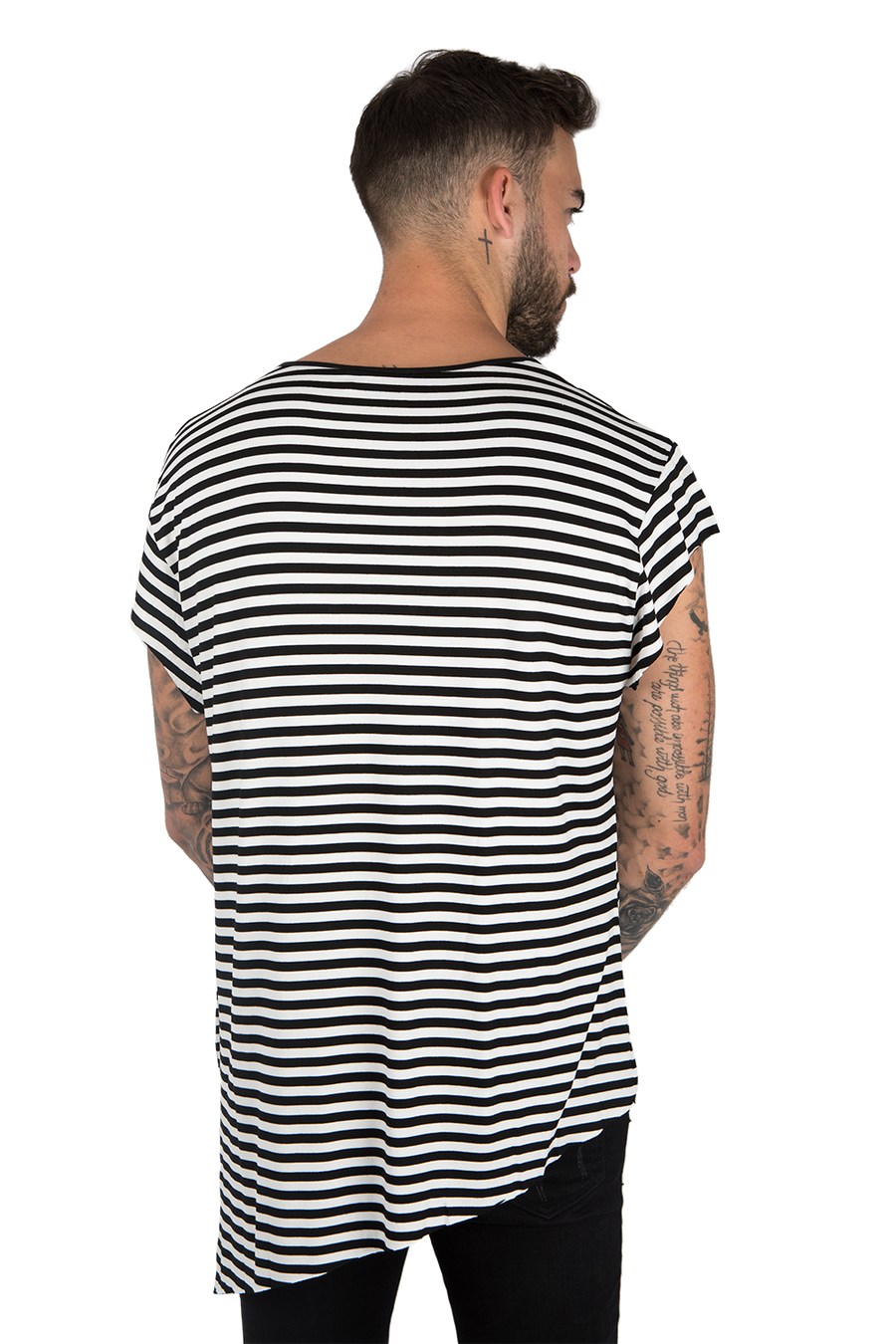 WOVEN STRIPED T-SHIT