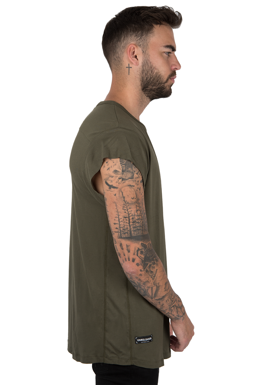 CUTTED SLEEVES T-SHIRT - KHAKI
