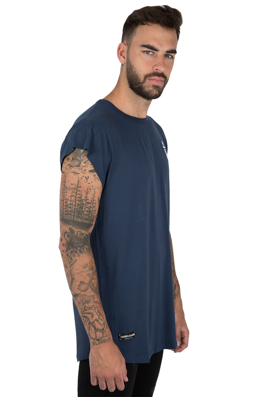 CUTTED SLEEVES T-SHIRT - NAVY