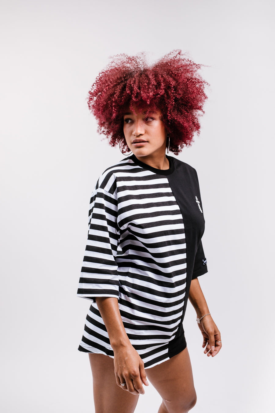 WOMEN'S OVERSIZE T-SHIRT COMBINED STRIPES WITH PLAIN