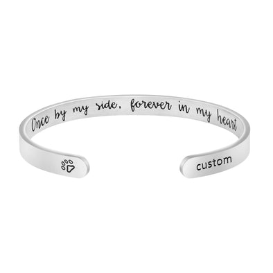 Customized Personalized Pet Name Memorial Cuff Bracelets