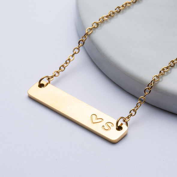 Joycuff Engraved Bar Necklace Initial Necklace Gold Filled Minimalist Jewelry Customized Gift for Women Mom Daughter Bridesmaid Best Friend