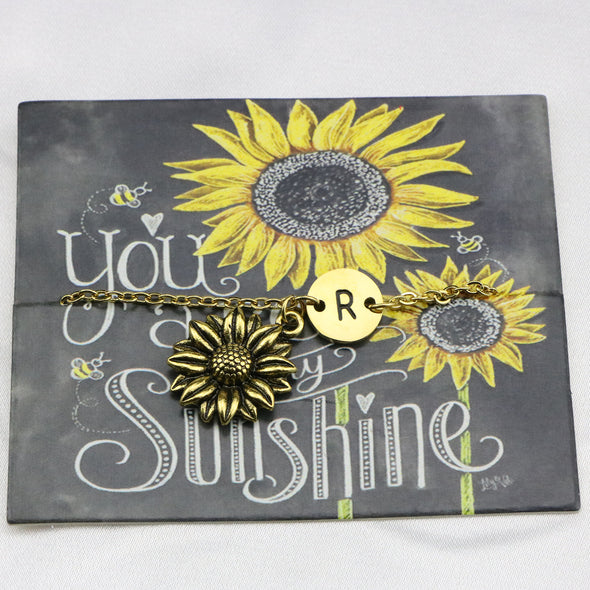 Joycuff Letter Sunflower Bracelets You are My Sunshine Jewelry Personalized 18 Real Gold Charm Encouragement Gifts for Her