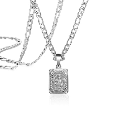 Sliver Square Initial Necklace Special Gift for Women Men