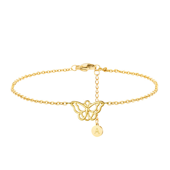 Personalized Gold Butterfly Charm Ankle Bracelet Initial Letter from A-Z Engraved Handmade Simple Fashion Trendy Beach Gift for Women