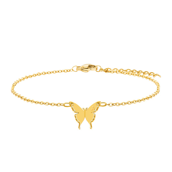 Joycuff Butterfly Anklet Dainty 18K Real Gold Jewelry Personalized Initial Letter 26 Alphabets  Handmade Boho Fashion Trendy Beach Gift