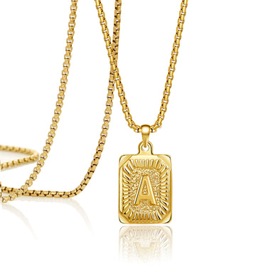 Joycuff 18K Real Gold Vintage Square Pendant Necklace Personalized 26 Alhpabet Classic Jewelry