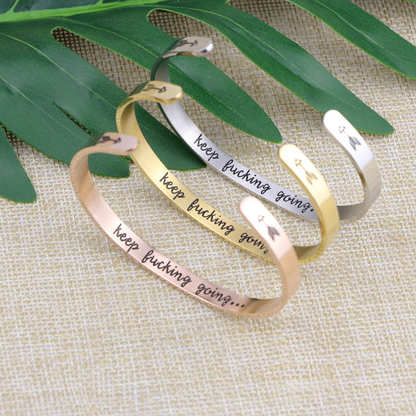 Encouragement Motivational Positivity CUFF BANGLE