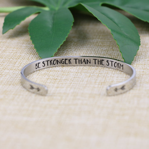 Be Stronger Than The Storm Mantra Bracelet Friend Encouragement Gift Motivational Jewelry