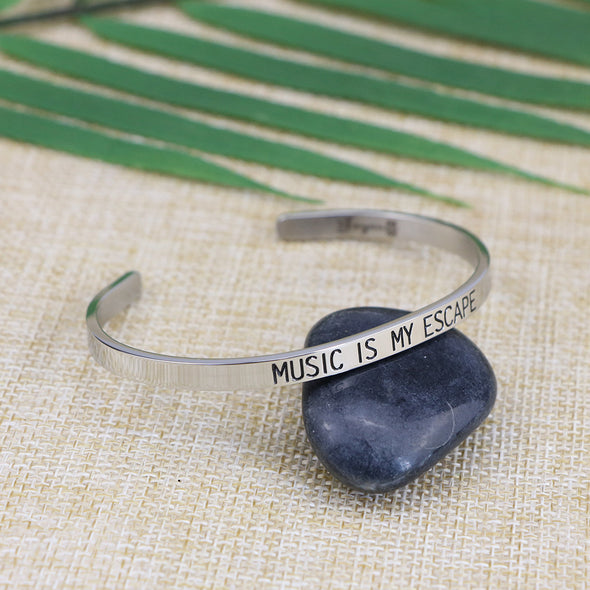 Music is My Escape Mantra Bracelets