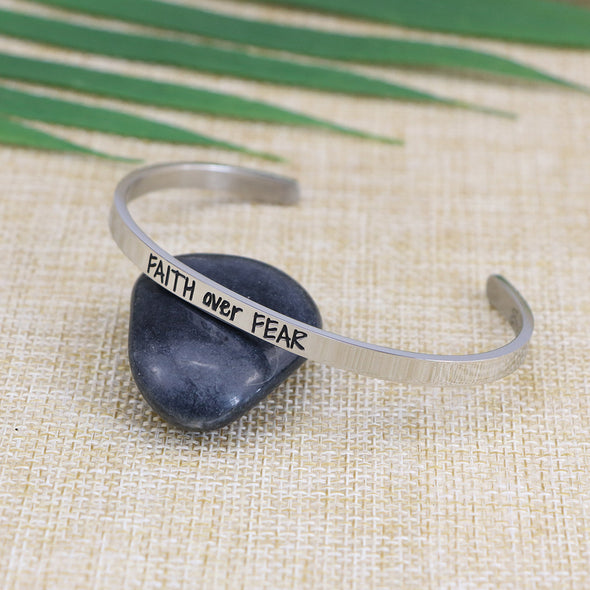 Faith Over Fear Mantra Cuff