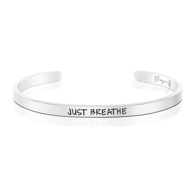 Just Breathe Mantra Bracelet Motivational Jewelry Sisters Best Friends BFF Personalized Gift