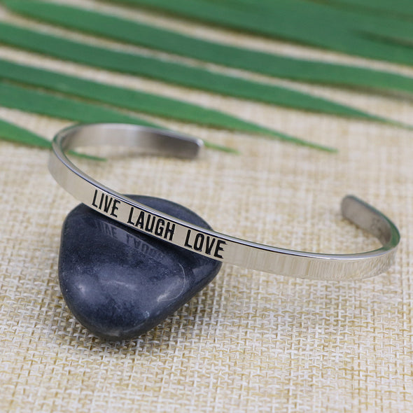 Live Laugh Love Mantra Cuff