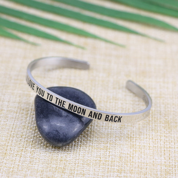 I Love You To The Moon And Back Mantra Bangle