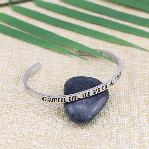 Beautiful Girl You Can Do Hard Things Mantra Jewelry