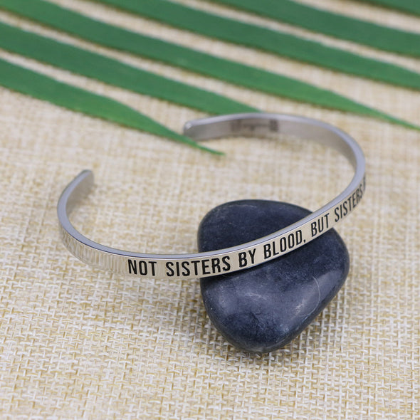 Not Sisters by Blood but Sisters by Heart Mantra Bracelets