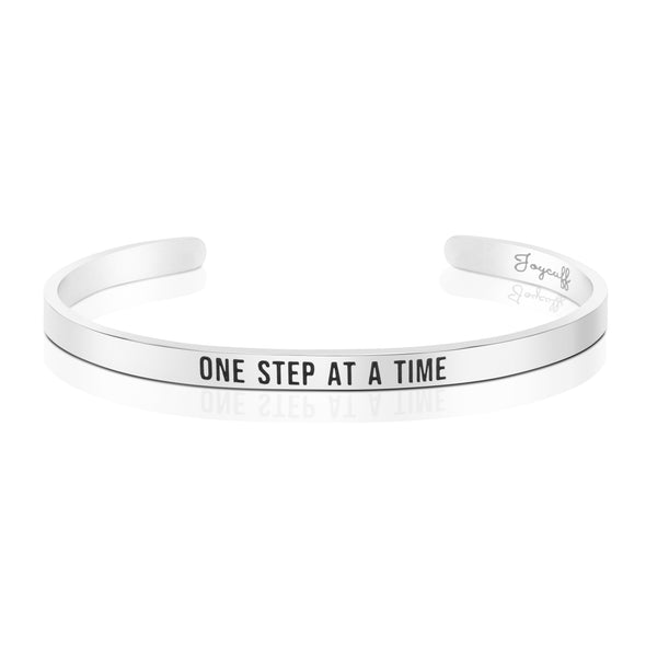 One Step At A Time Mantra Bracelet Sobriety Gift Break Up Divorce Recovery Jewelry
