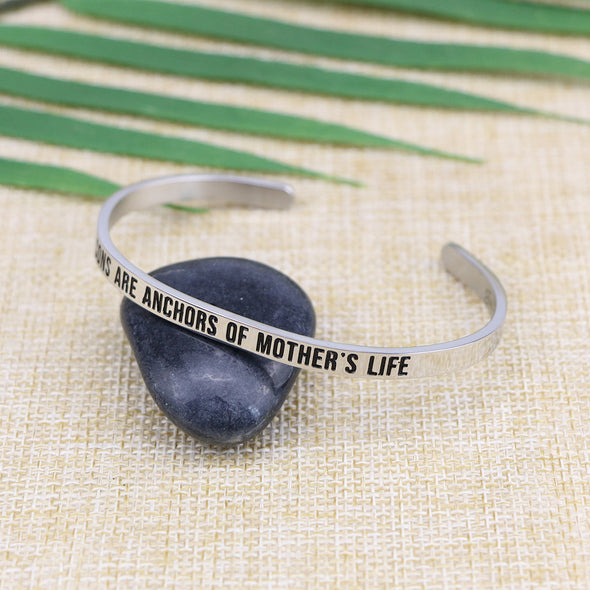 Sons are The Anchors of A Mother's Life Mantra Cuff