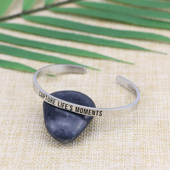 Capture Life's Moments Mantra Cuff