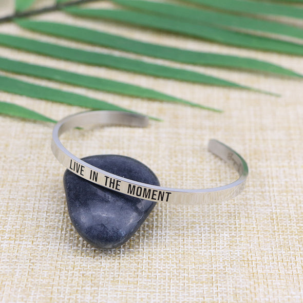 Live in The Moment Mantra Bangle