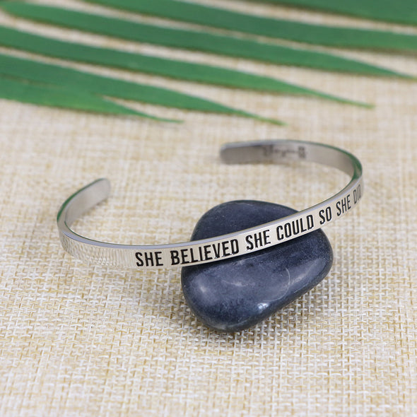 She Believed She Could So She Did Mantra Bangle
