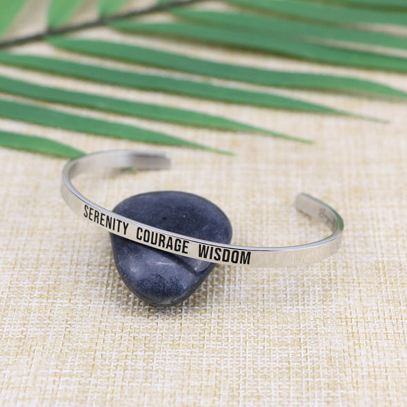 Courage Serenity Wisdom Mantra Bracelet Inspirational Daily Reminder Recovery Jewelry