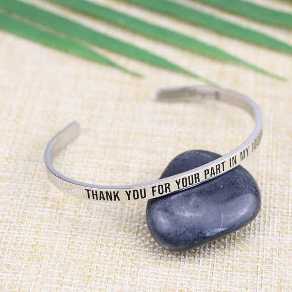 Thank You For Your Part In My Journey Mantra Bracelet