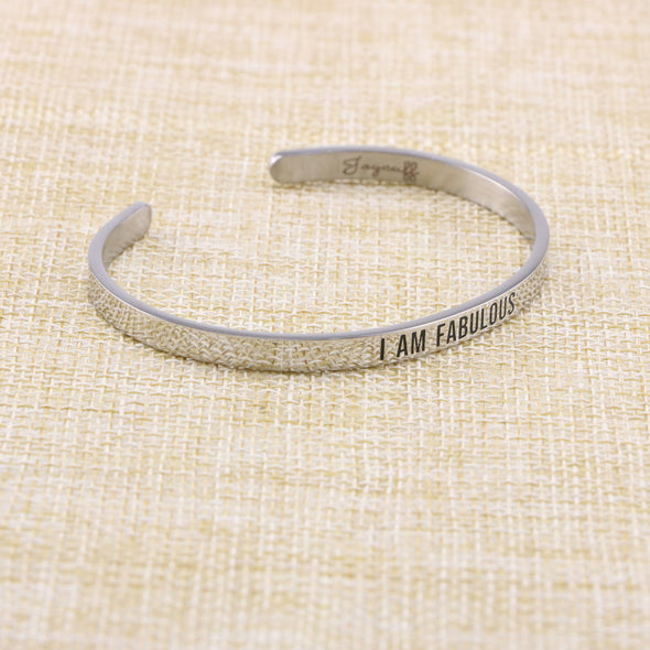 I Am Fabulous Mantra Bracelet Birthday Gift for BFF Stainless Steel Cuff Bangle