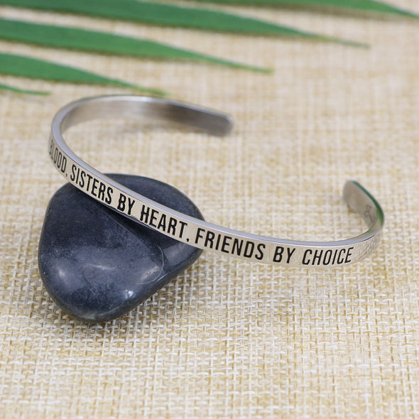 Cousins By Blood Sisters By Heart Friends By Choice Mantra Cuff