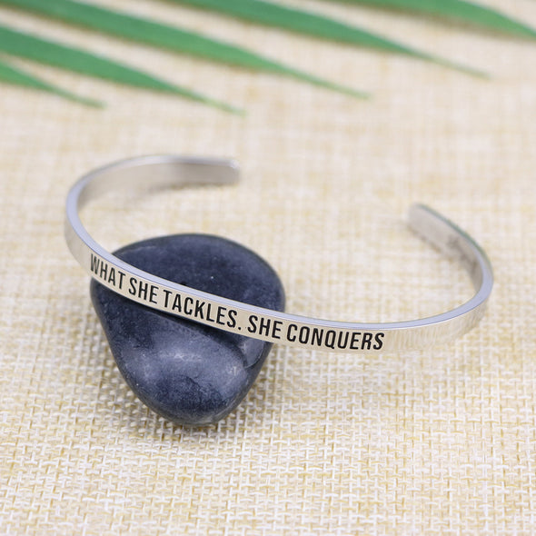 What She Tackles She Conquers Mantra Cuff