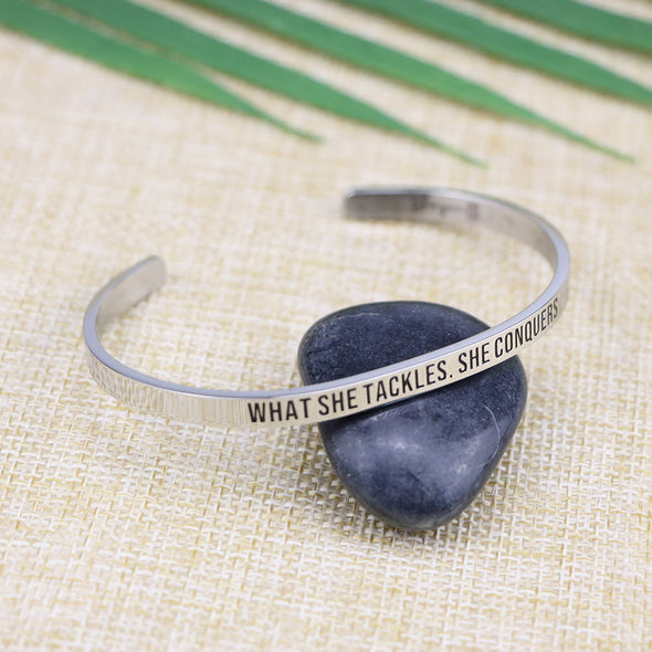 What She Tackles She Conquers Mantra Bangle