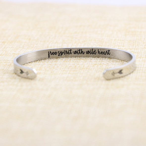 Free Spirit with Wild Heart Hidden Message Cuff Bracelet