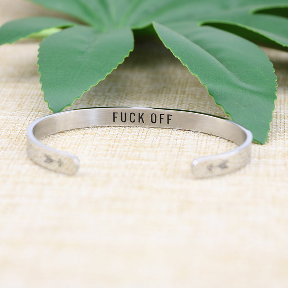 Fuck Off Hidden Message Cuff Bracelet