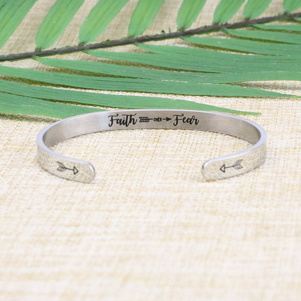 Faith Over Fear Hidden Message Cuff Bracelet