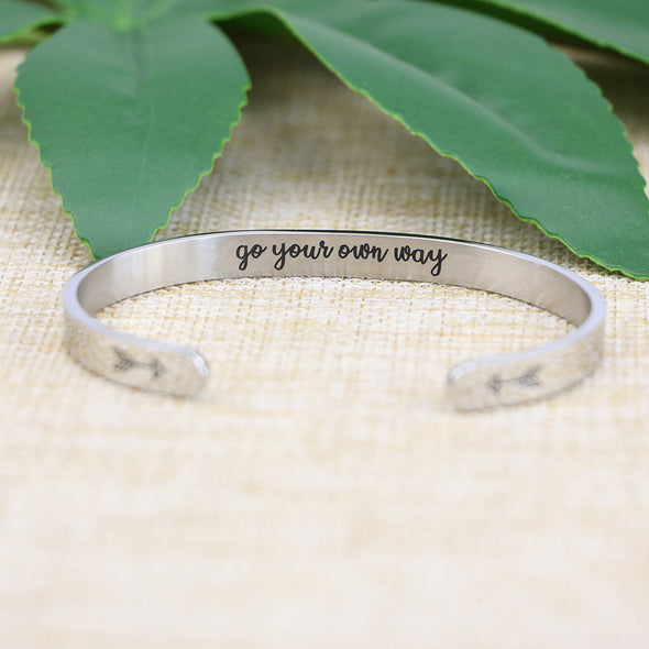 Go Your Own Way Hidden Message Cuff Bracelet