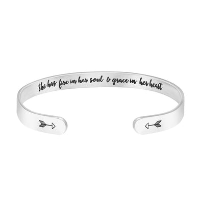 She Has Fire in Her Soul & Grace in Her Heart Hidden Message Cuff Bracelet