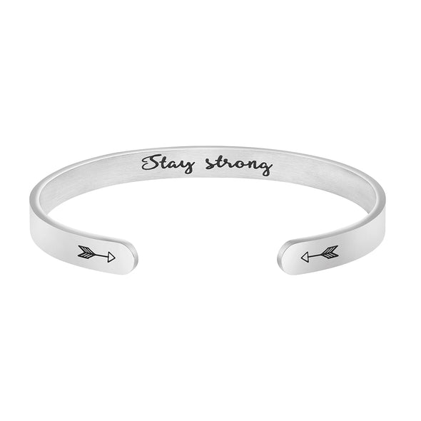 Stay Strong Hidden Message Cuff Bracelet