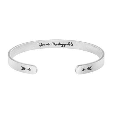 You Are Unstoppable Hidden Message Cuff Bracelet