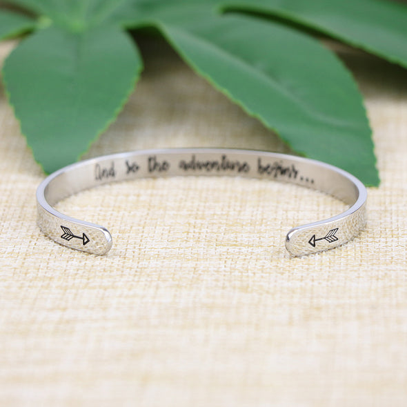 And So The Adventure Begins Hidden Message Mantra Cuff Bracelet