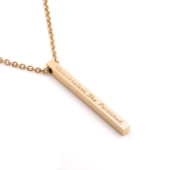 Nevertheless She Persisted Inspirational Bar Necklace