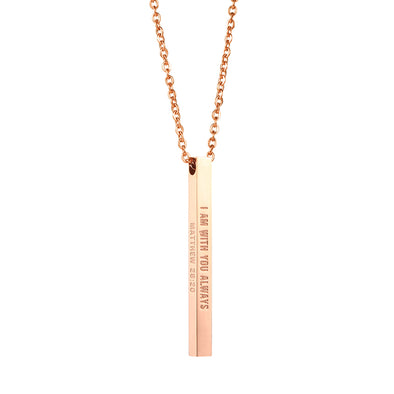 I Am With You Always Matthew 28:20 Christain Bar Necklace